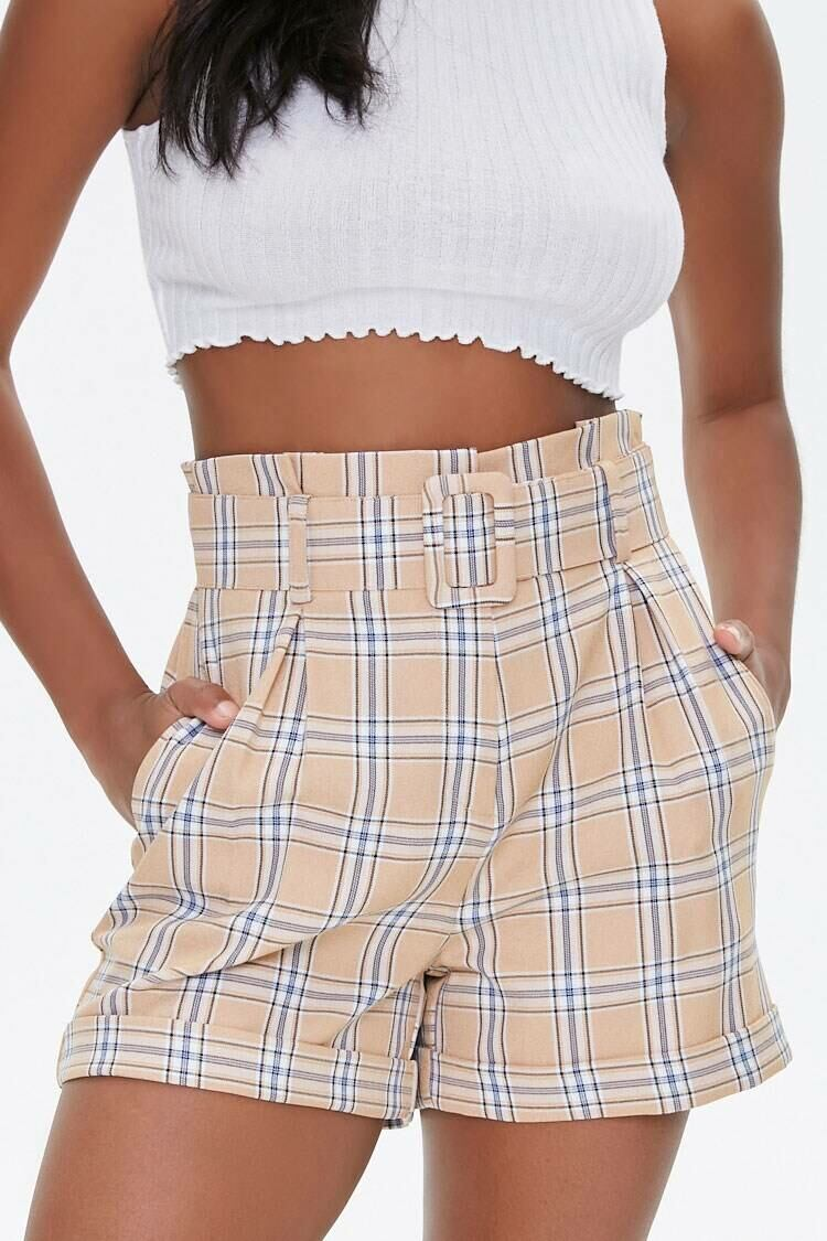 Forever 21 Khaki/Multi Belted Plaid Cuffed Shorts WOMEN Women FASHION Womens SHORTS