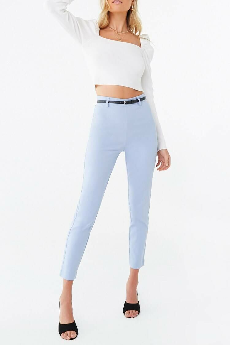 Forever 21 Lightblue Belted Skinny Ankle Pants WOMEN Women FASHION Womens TROUSERS