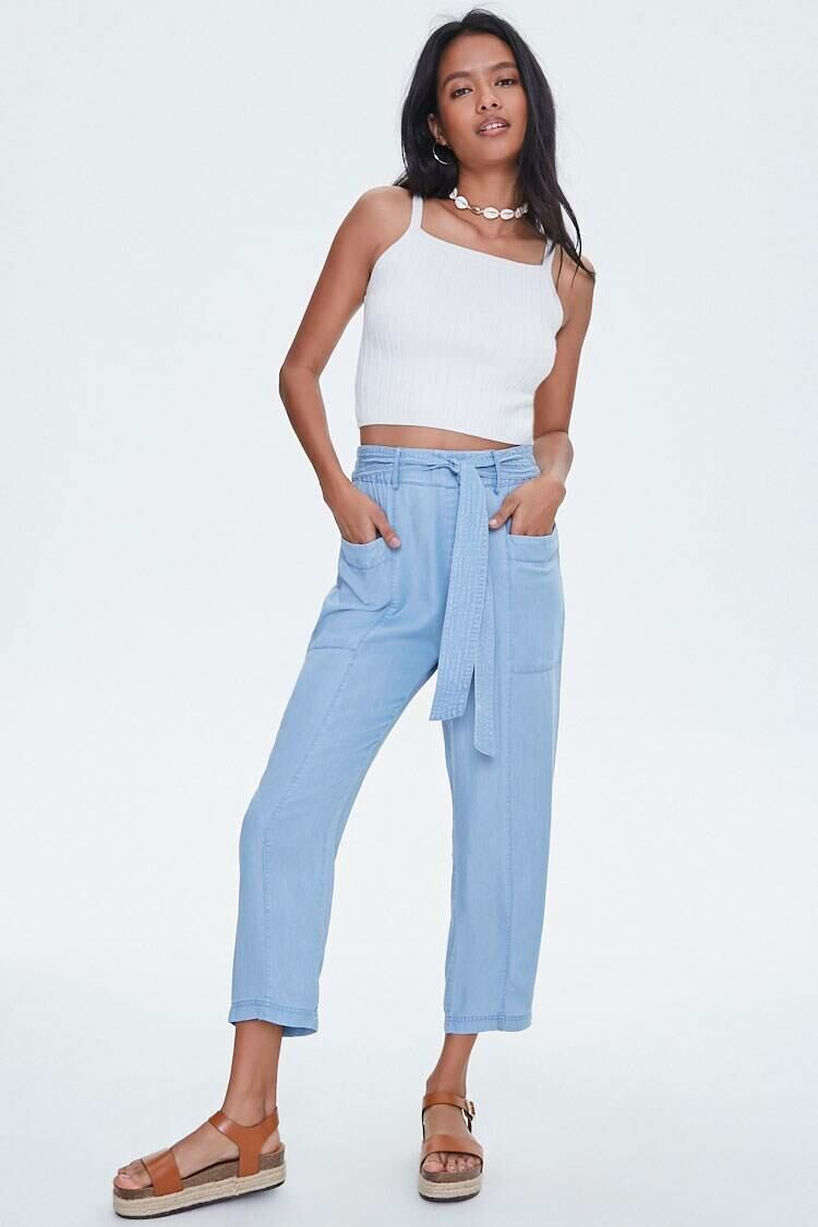 Forever 21 Lightdenim Chambray Tie-Waist Ankle Pants WOMEN Women FASHION Womens TROUSERS