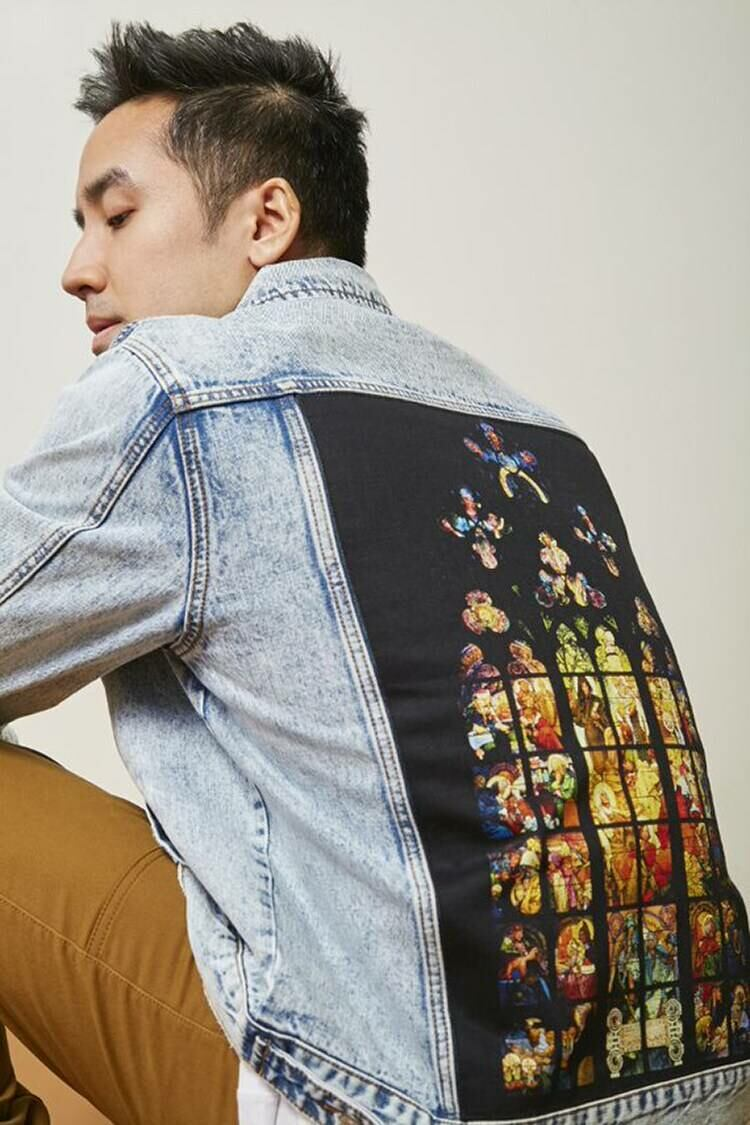 Forever 21 Lightdenim/Multi Alphonse Mucha Stained Glass Denim Jacket MEN Men FASHION Mens JACKETS
