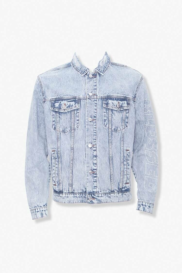 Forever 21 Lightdenim/White Blessed Cursed Graphic Denim Jacket MEN Men FASHION Mens JACKETS