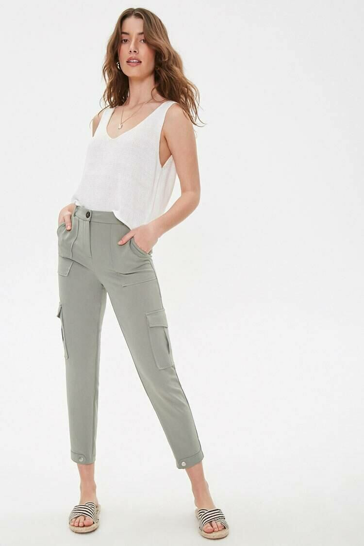 Forever 21 Lightolive Cargo Straight-Leg Ankle Pants WOMEN Women FASHION Womens TROUSERS