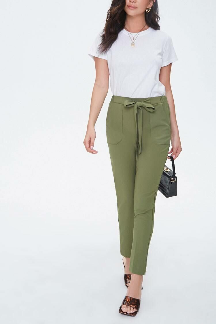 Forever 21 Lightolive Tapered Pull-On Ankle Pants WOMEN Women FASHION Womens TROUSERS