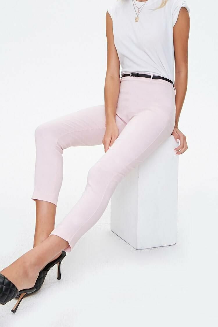 Forever 21 Lightpink Belted High-Rise Harper Pants WOMEN Women FASHION Womens TROUSERS