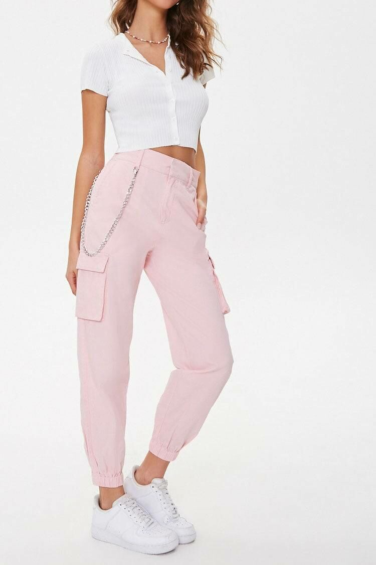 Forever 21 Lightpink Londyn Curb Chain Cargo Joggers WOMEN Women FASHION Womens TROUSERS