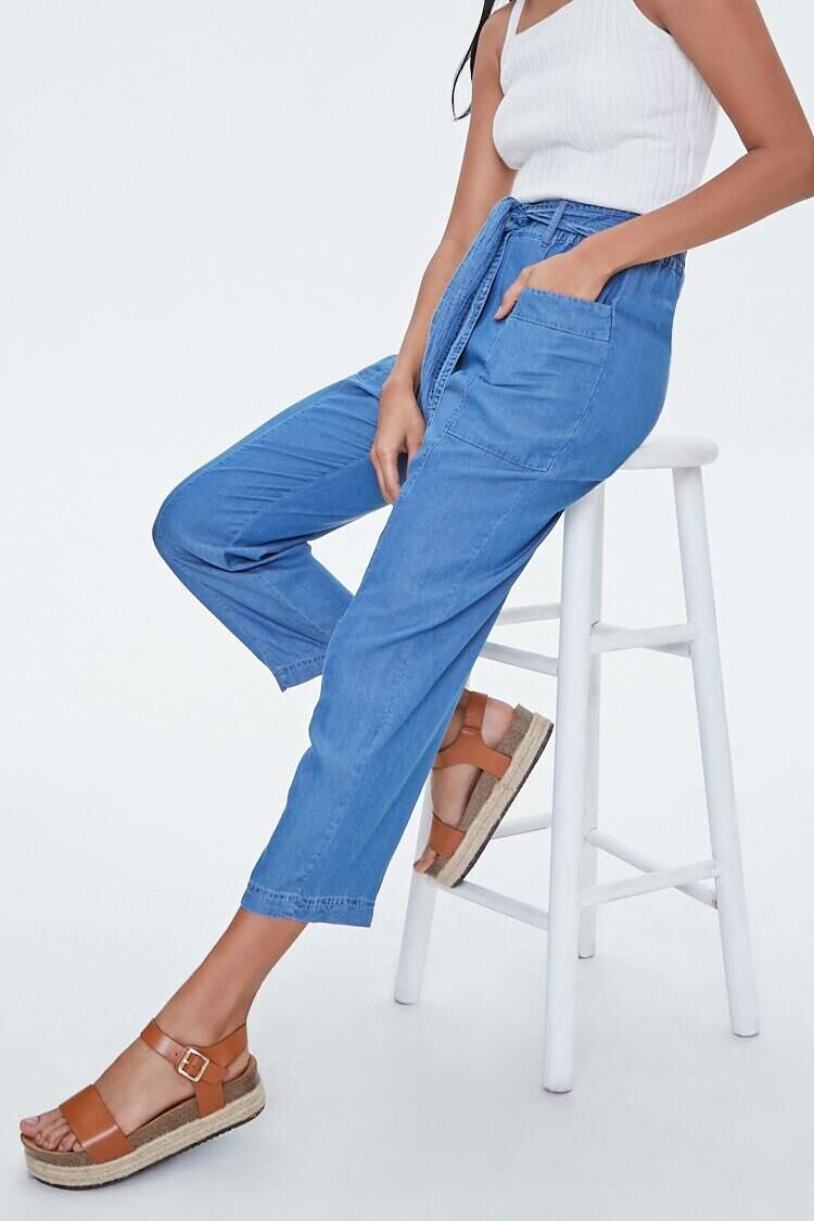 Forever 21 Mediumdenim Chambray Tie-Waist Ankle Pants WOMEN Women FASHION Womens TROUSERS