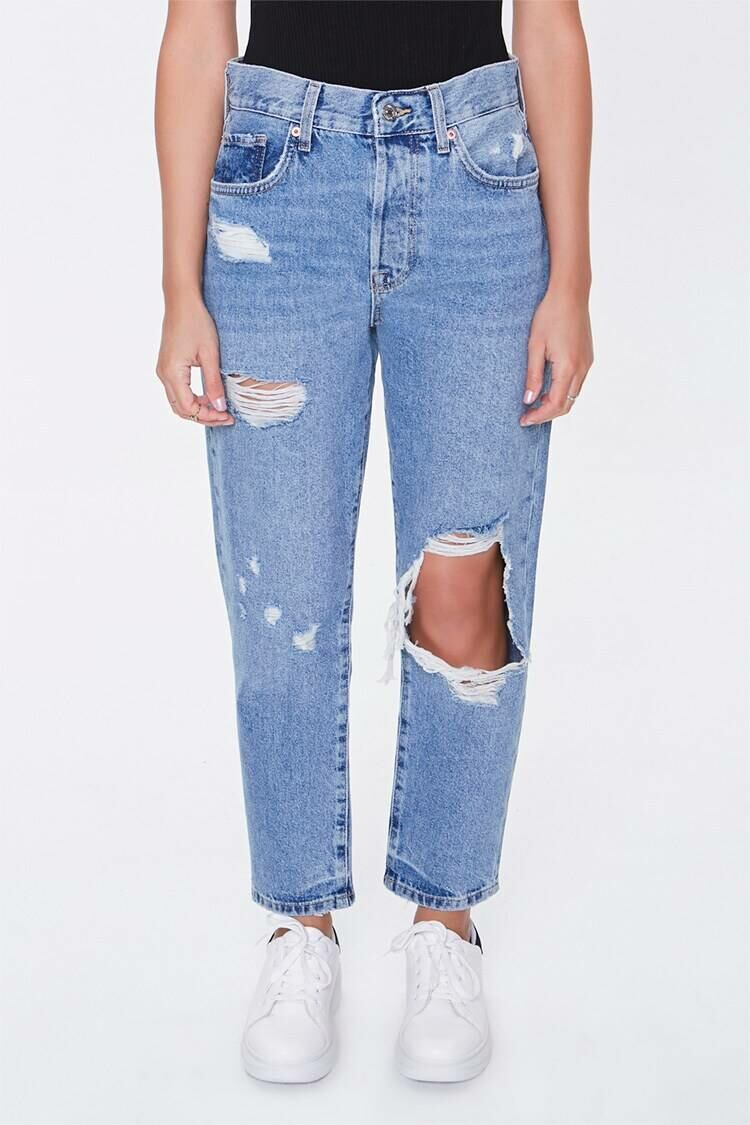 Forever 21 Mediumdenim The Westwood Destroyed High-Rise Petite Mom Jeans WOMEN Women FASHION Womens JEANS