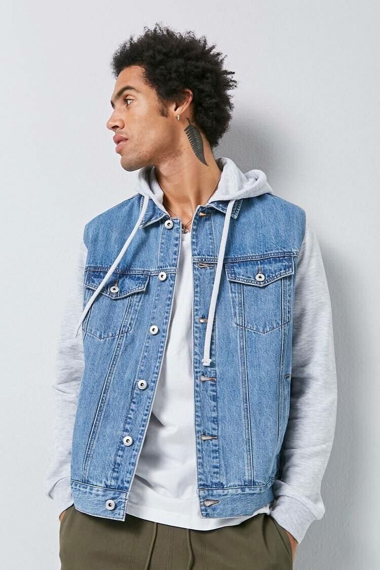 Forever 21 Mediumdenim/Grey Combo Hooded Denim Jacket MEN Men FASHION Mens JACKETS