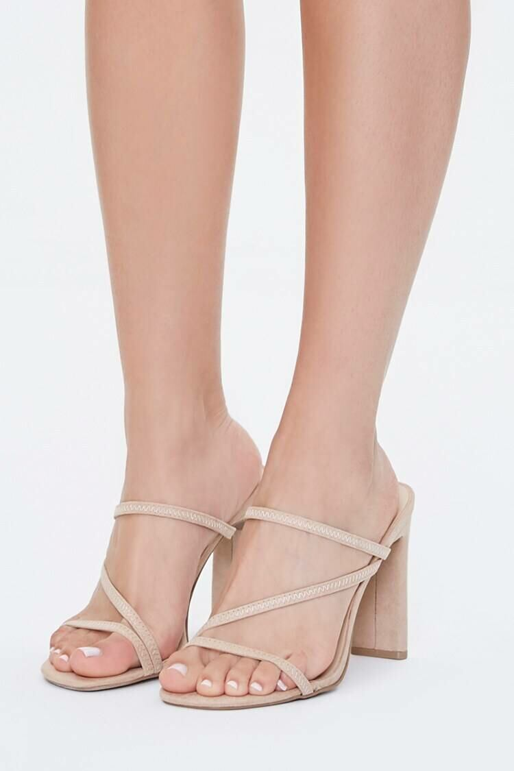 Forever 21 Natural Faux Nubuck Strappy Heels WOMEN Women SHOES Womens HIGH HEELS