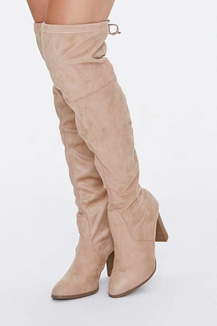 Forever 21 Natural Slouchy Over-the-Knee Boots WOMEN Women SHOES Womens BOOTS