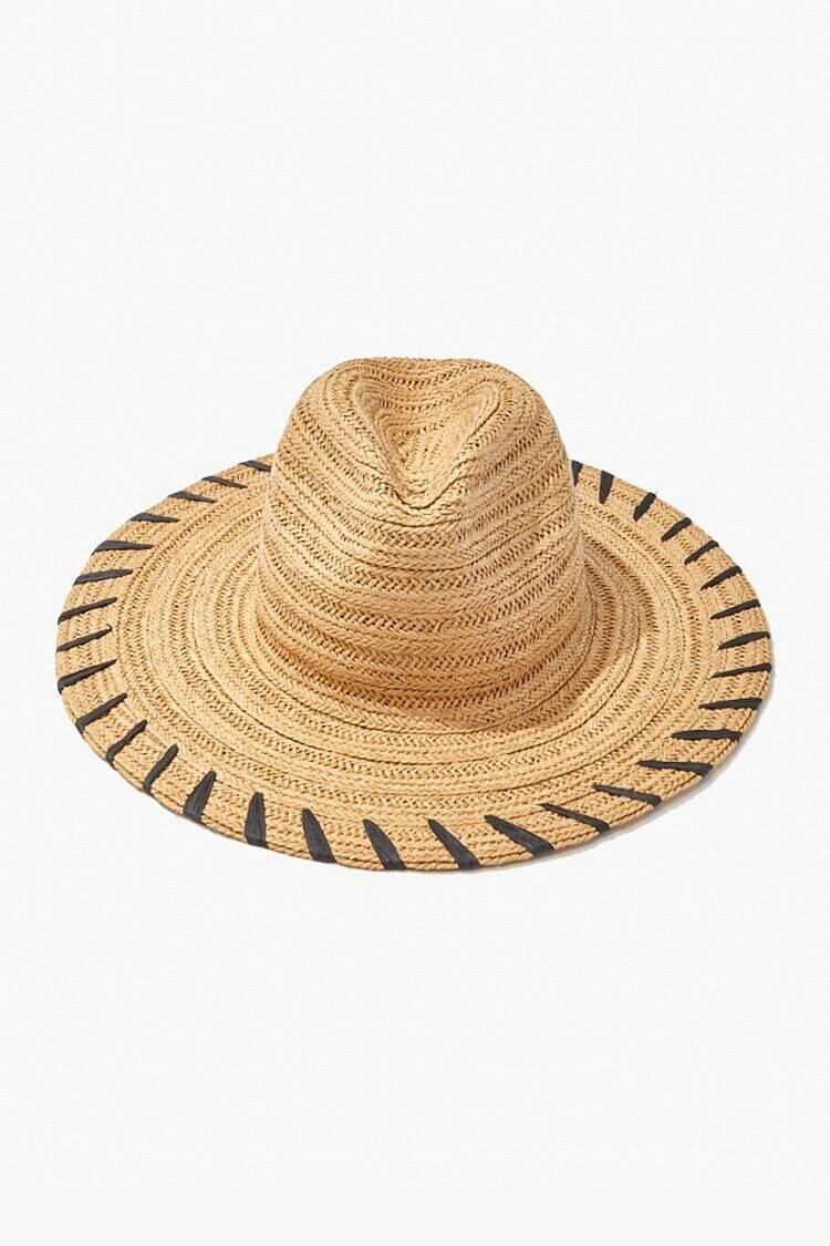 Forever 21 Natural/Black Striped Panama Straw Hat WOMEN Women ACCESSORIES Womens HATS