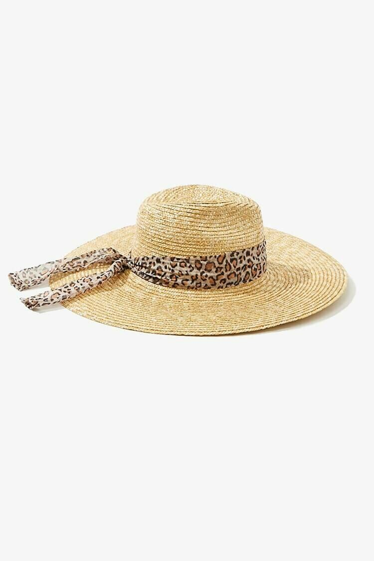 Forever 21 Natural/Brown Leopard-Trim Straw Fedora WOMEN Women ACCESSORIES Womens HATS
