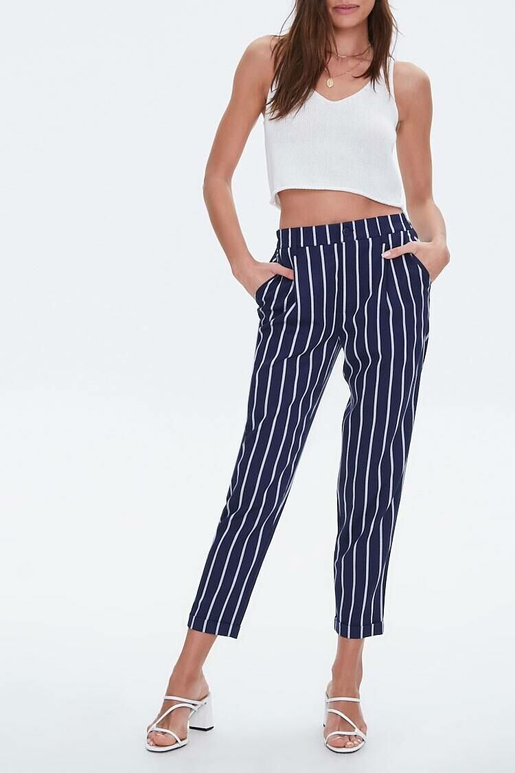 Forever 21 Navy/Cream Striped Cuffed-Hem Ankle Pants WOMEN Women FASHION Womens TROUSERS