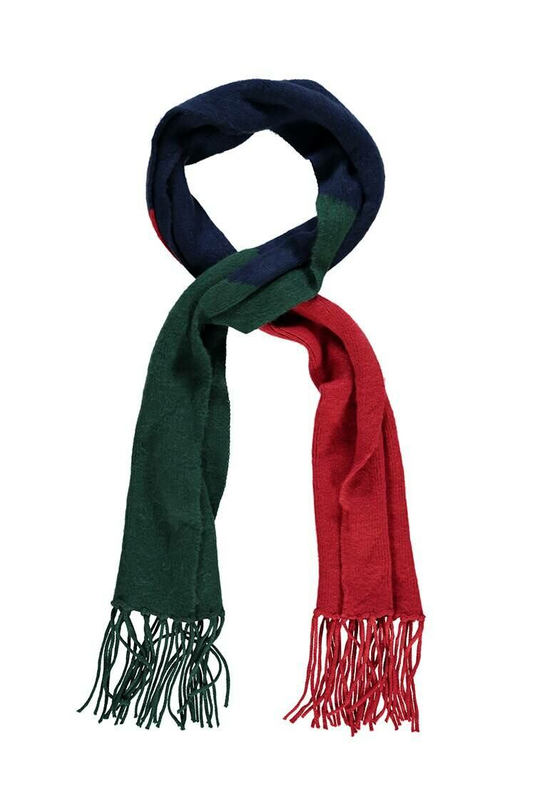 Forever 21 Navy/Multi Colorblock Oblong Scarf WOMEN Women ACCESSORIES Womens SCARFS