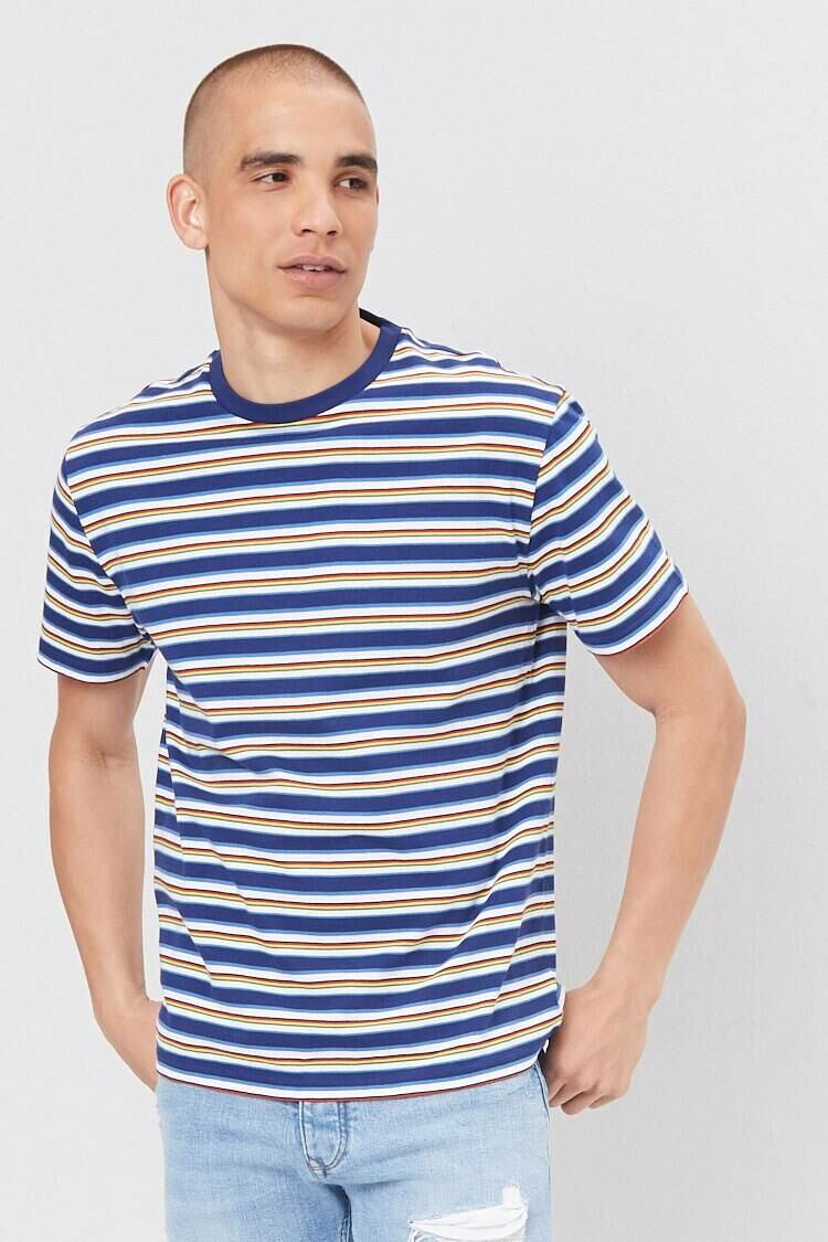 Forever 21 Navy/Multi Multicolor Striped Tee MEN Men FASHION Mens T-SHIRTS