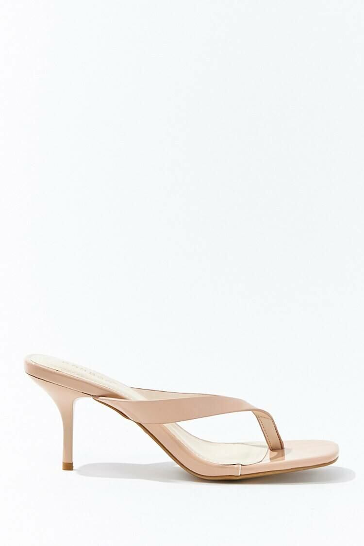 Forever 21 Nude Faux Patent Leather Thong Heels WOMEN Women SHOES Womens HIGH HEELS