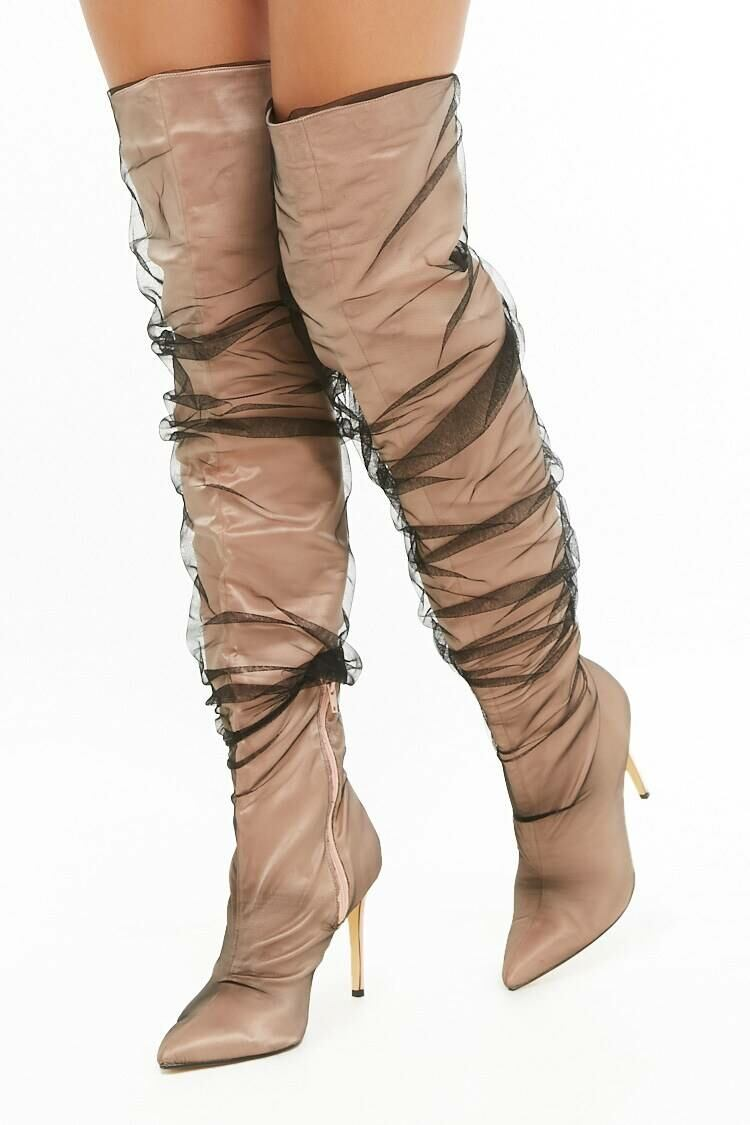 Forever 21 Nude Mesh Stiletto Over-the-Knee Boots WOMEN Women SHOES Womens BOOTS