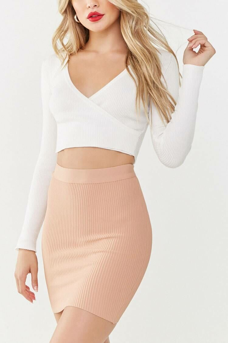Forever 21 Nude Ribbed Bodycon Skirt WOMEN Women FASHION Womens SKIRTS