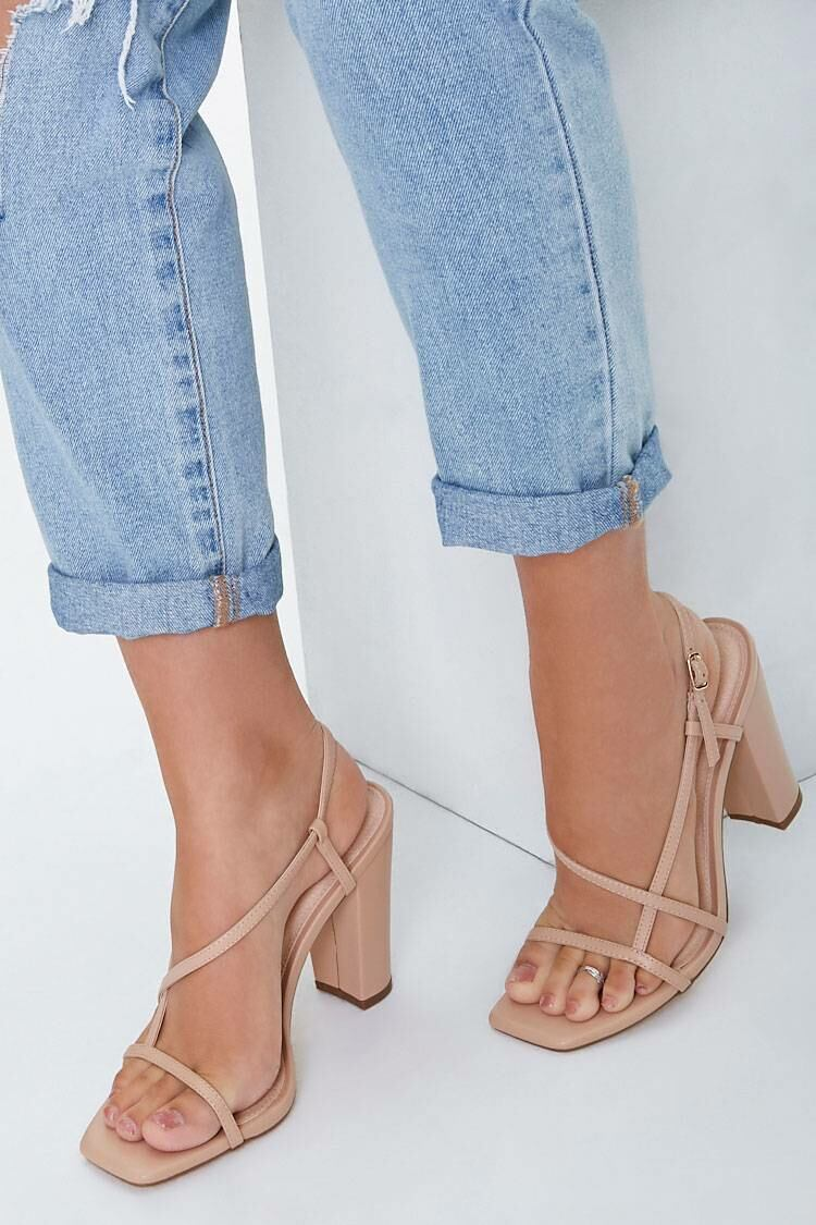 Forever 21 Nude Strappy Faux Leather Block Heels WOMEN Women SHOES Womens HIGH HEELS
