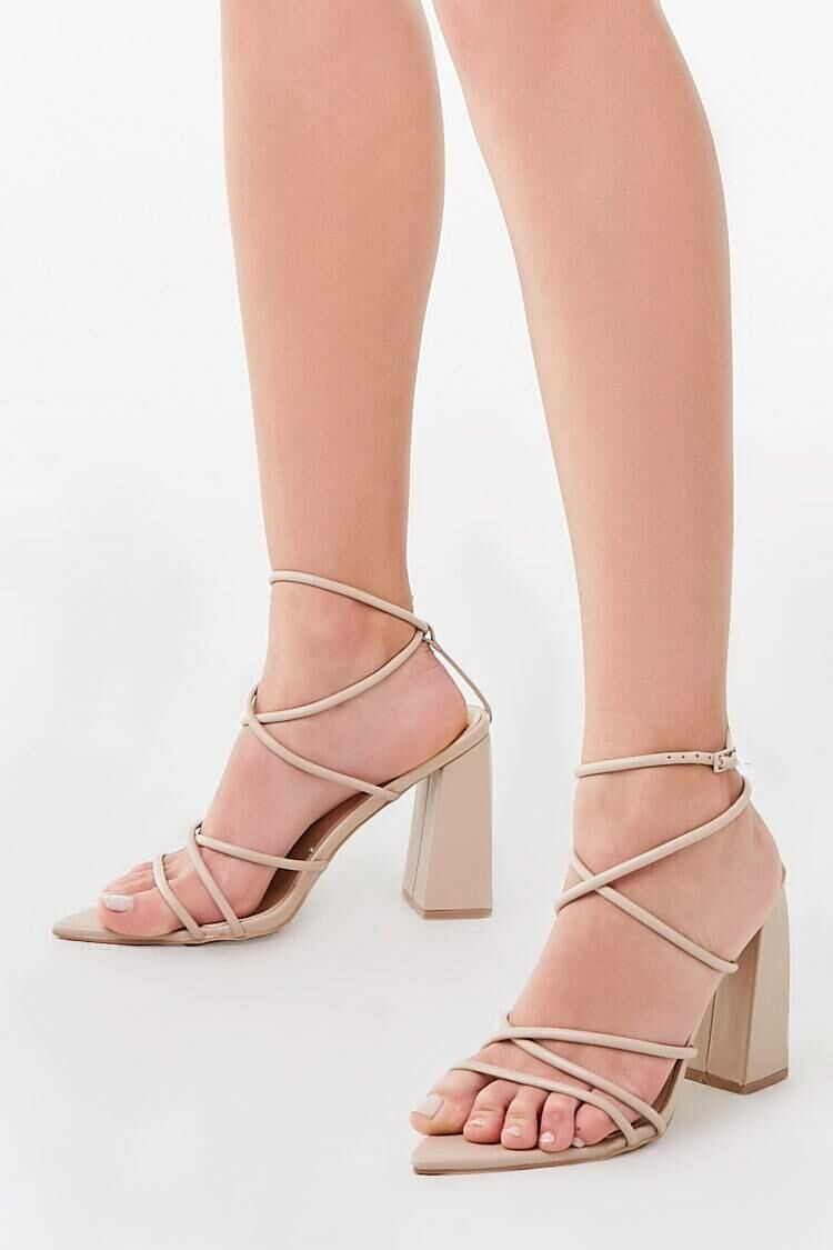Forever 21 Nude Strappy Faux Leather Heels WOMEN Women SHOES Womens HIGH HEELS