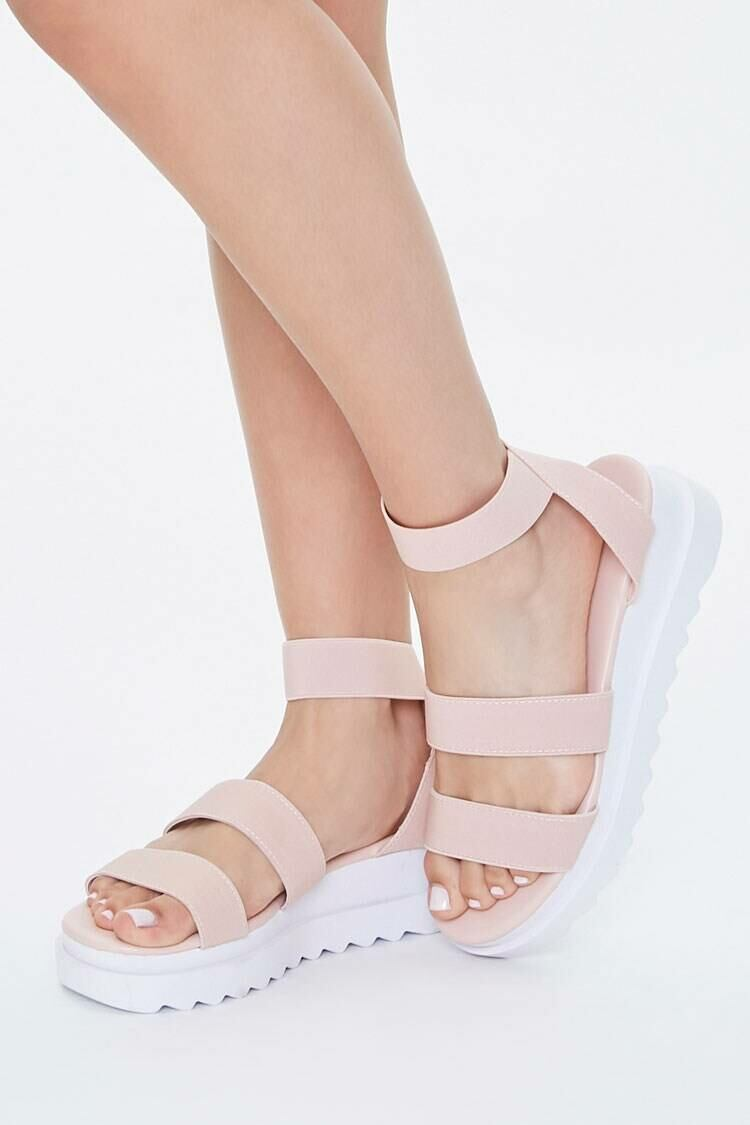 Forever 21 Nude Strappy Flatform Wedges WOMEN Women SHOES Womens SLIPPERS