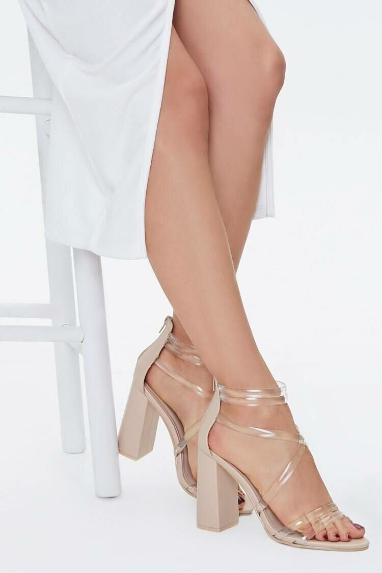 Forever 21 Nude Translucent Strappy Block Heels WOMEN Women SHOES Womens HIGH HEELS