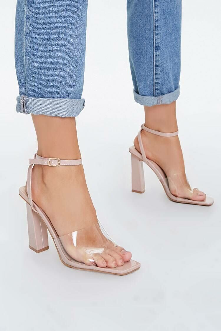Forever 21 Nude Transparent Ankle-Strap Block heels WOMEN Women SHOES Womens HIGH HEELS
