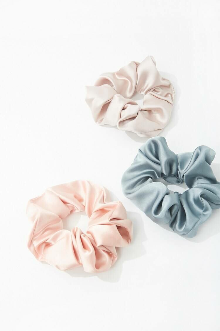 Forever 21 Nude/Grey Satin Scrunchie Set WOMEN Women ACCESSORIES Womens HATS