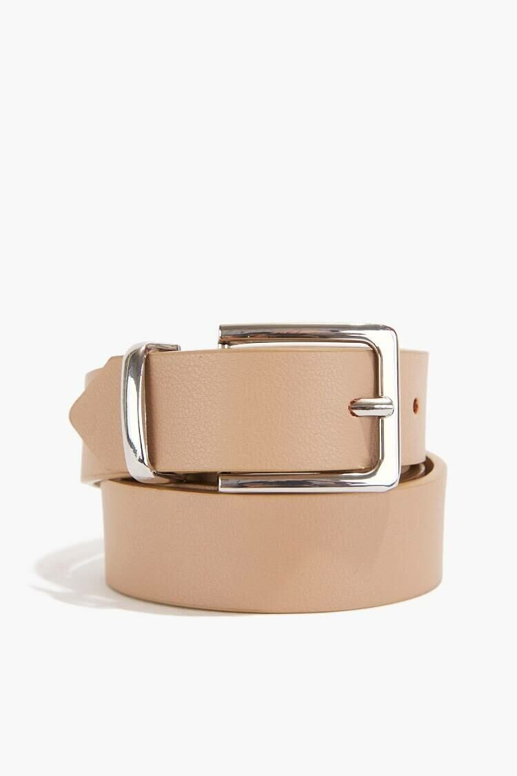 Forever 21 Nude/Silver Faux Leather Square-Buckle Belt WOMEN Women ACCESSORIES Womens BELTS