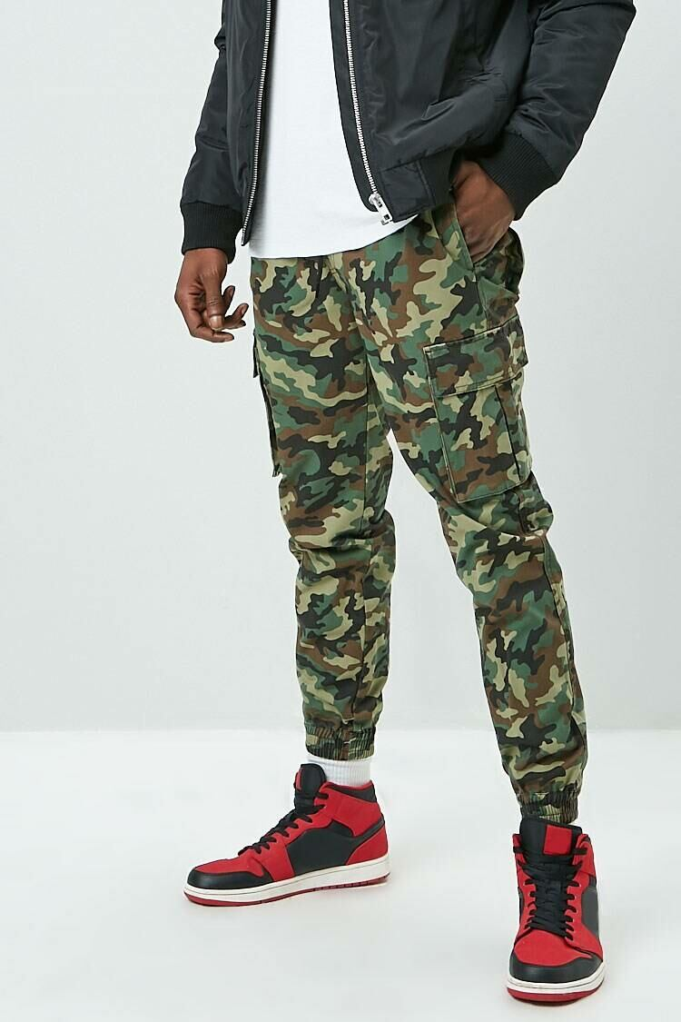 Forever 21 Olive/Black Camo Drawstring Joggers MEN Men FASHION Mens TROUSERS