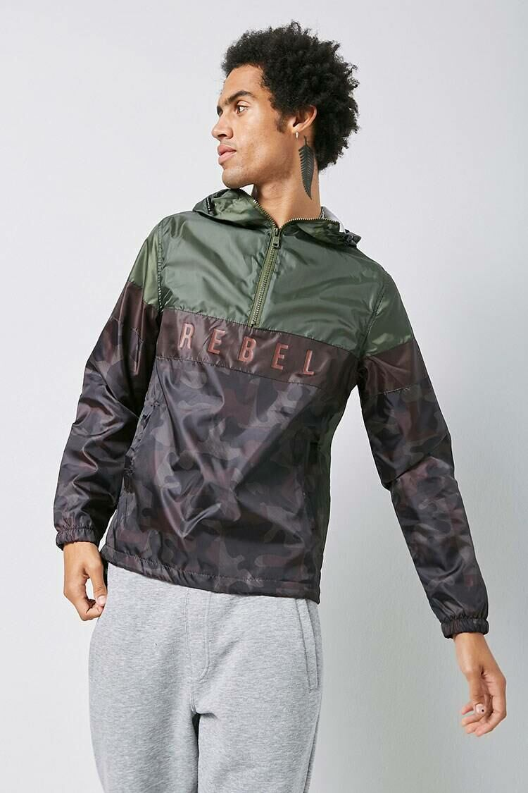 Forever 21 Olive/Brown Rebel Minds Camo Anorak MEN Men FASHION Mens JACKETS