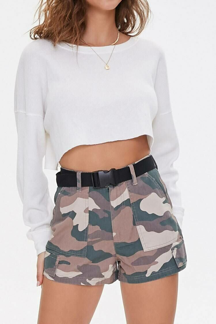 Forever 21 Olive/Brown Release Buckle Camo Print Shorts WOMEN Women FASHION Womens SHORTS