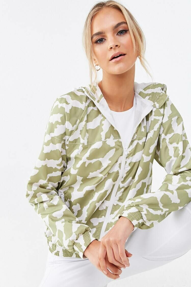 Forever 21 Olive/Cream Active Abstract Camo Windbreaker WOMEN Women FASHION Womens JACKETS