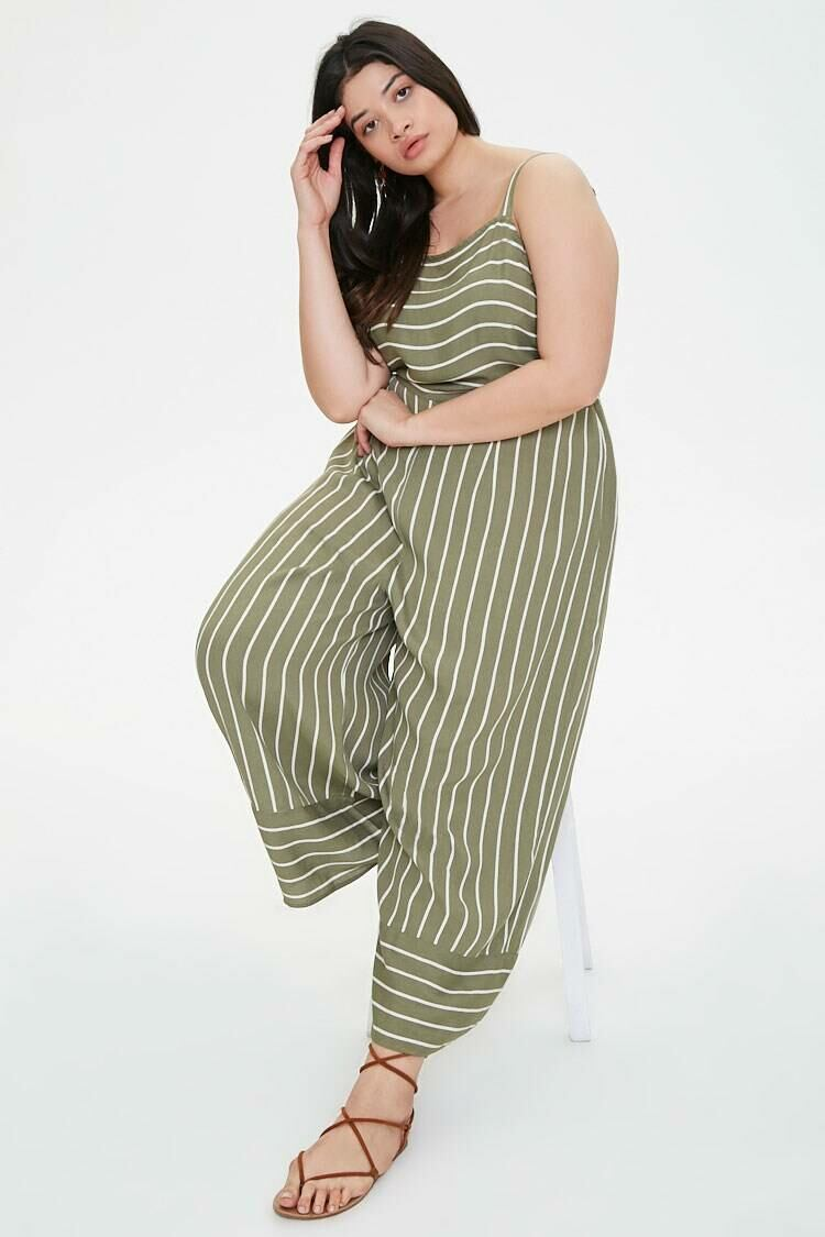 Forever 21 Olive/Cream Plus Size Striped Wide Leg Jumpsuit WOMEN Women FASHION Womens JUMPSUITS