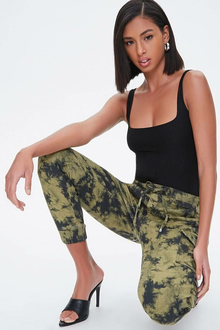 Forever 21 Olive/Multi Bleach Wash Cargo Joggers WOMEN Women FASHION Womens TROUSERS