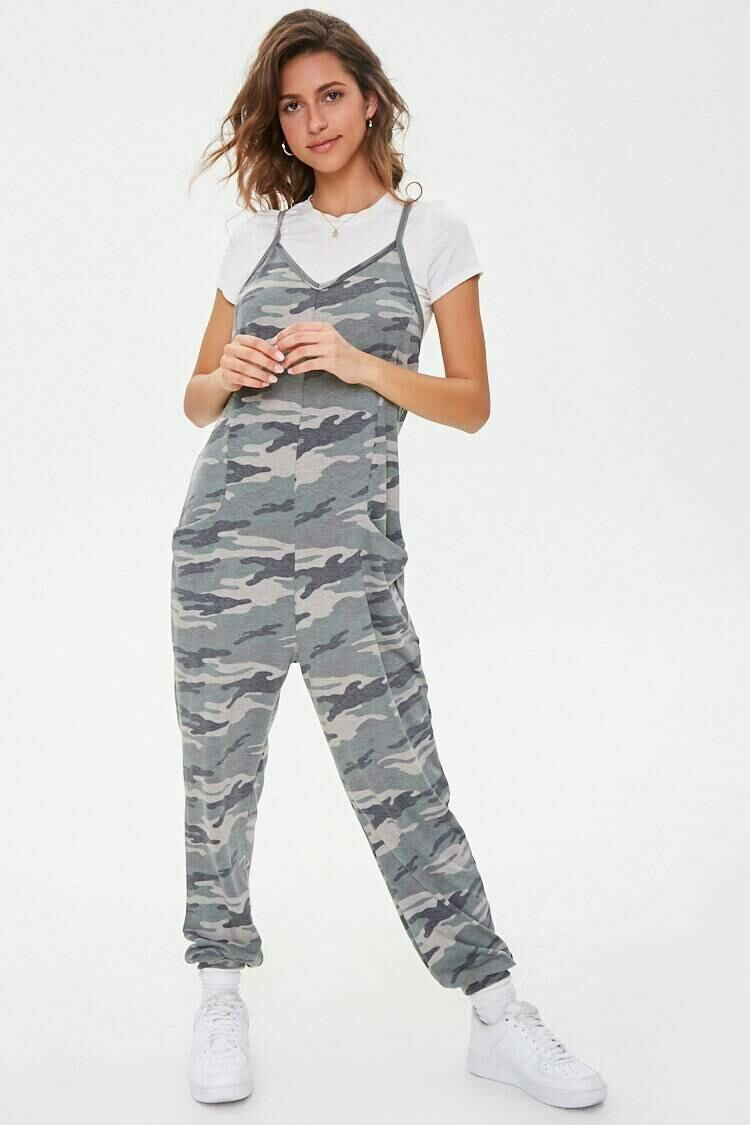 Forever 21 Olive/Multi Camo Print Cami Jumpsuit WOMEN Women FASHION Womens JUMPSUITS
