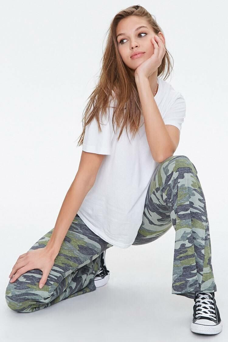 Forever 21 Olive/Multi Camo Print Flare Pants WOMEN Women FASHION Womens TROUSERS
