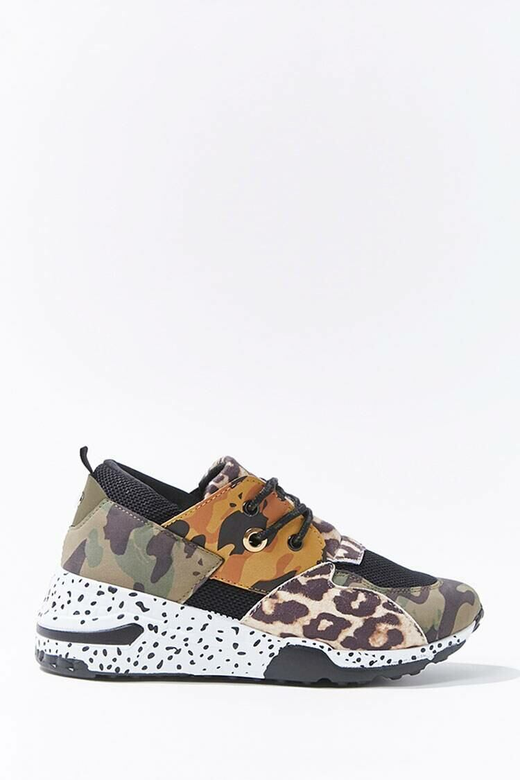 Forever 21 Olive/Multi Camo Print Low-Top Sneakers WOMEN Women FASHION Womens TOPS