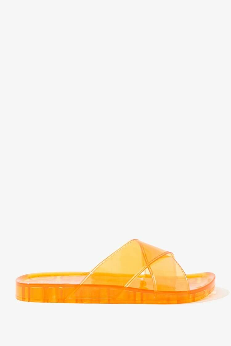 Forever 21 Orange Vinyl Jelly Slides WOMEN Women SHOES Womens SLIPPERS