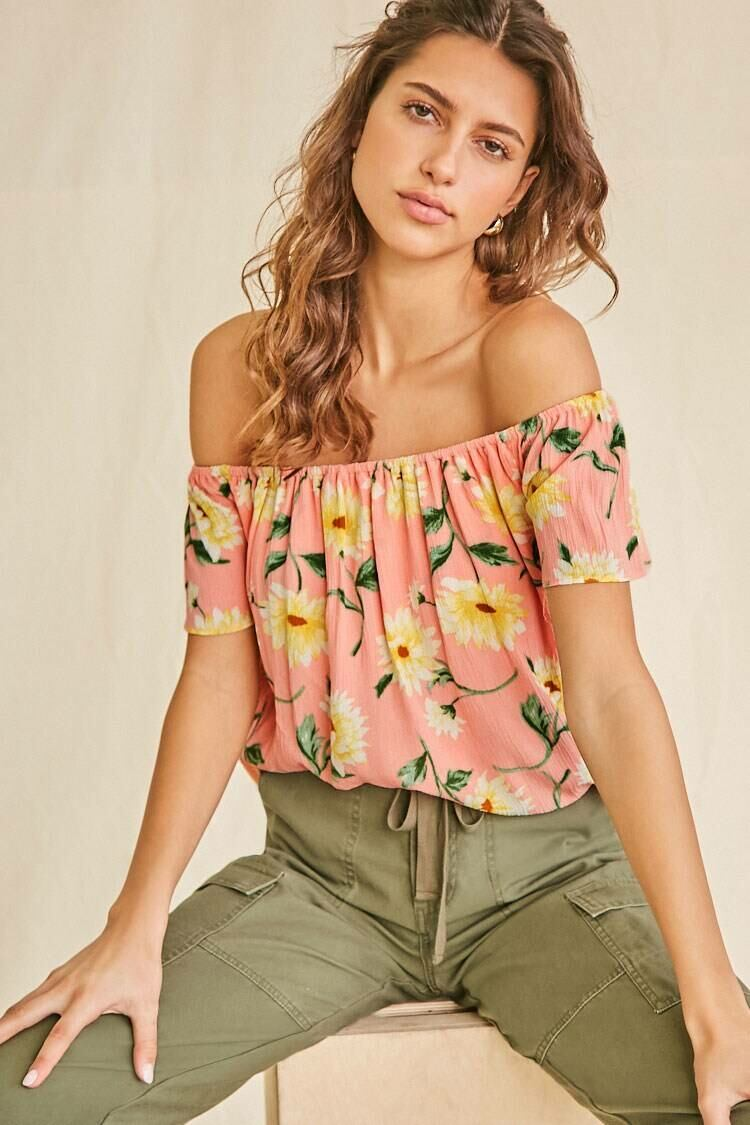 Forever 21 Peach/Multi Sunflower Off-the-Shoulder Top WOMEN Women FASHION Womens TOPS