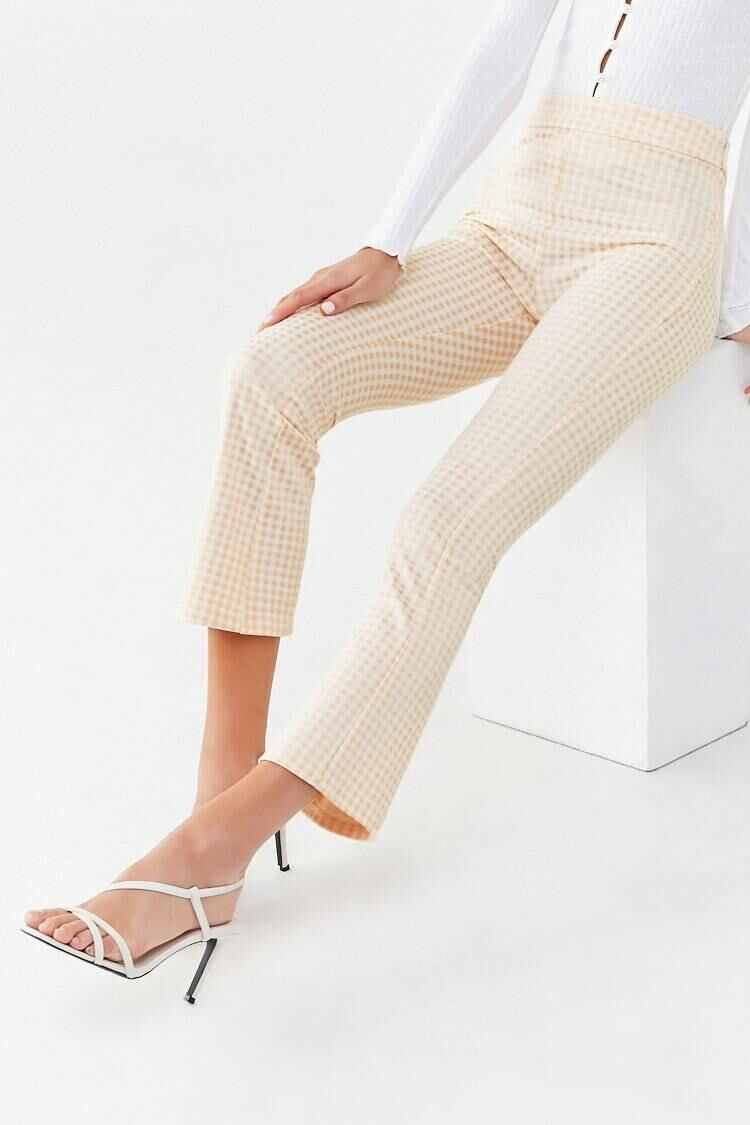 Forever 21 Peach/White Gingham Print Flare Pants WOMEN Women FASHION Womens TROUSERS
