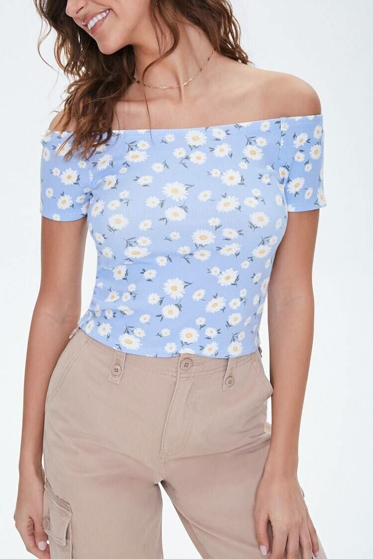 Forever 21 Periwinkle/Multi Ribbed Daisy Print Tee WOMEN Women FASHION Womens T-SHIRTS