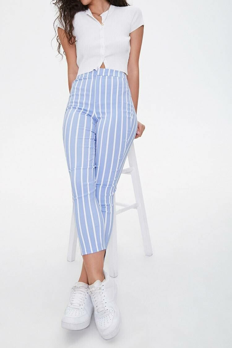 Forever 21 Periwinkle/White Vertical Striped Ankle Pants WOMEN Women FASHION Womens TROUSERS