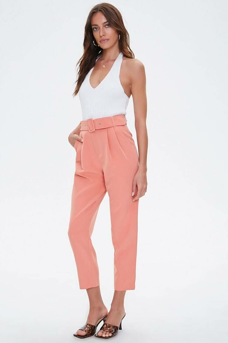 Forever 21 Pink Belted Ankle Pants WOMEN Women FASHION Womens TROUSERS