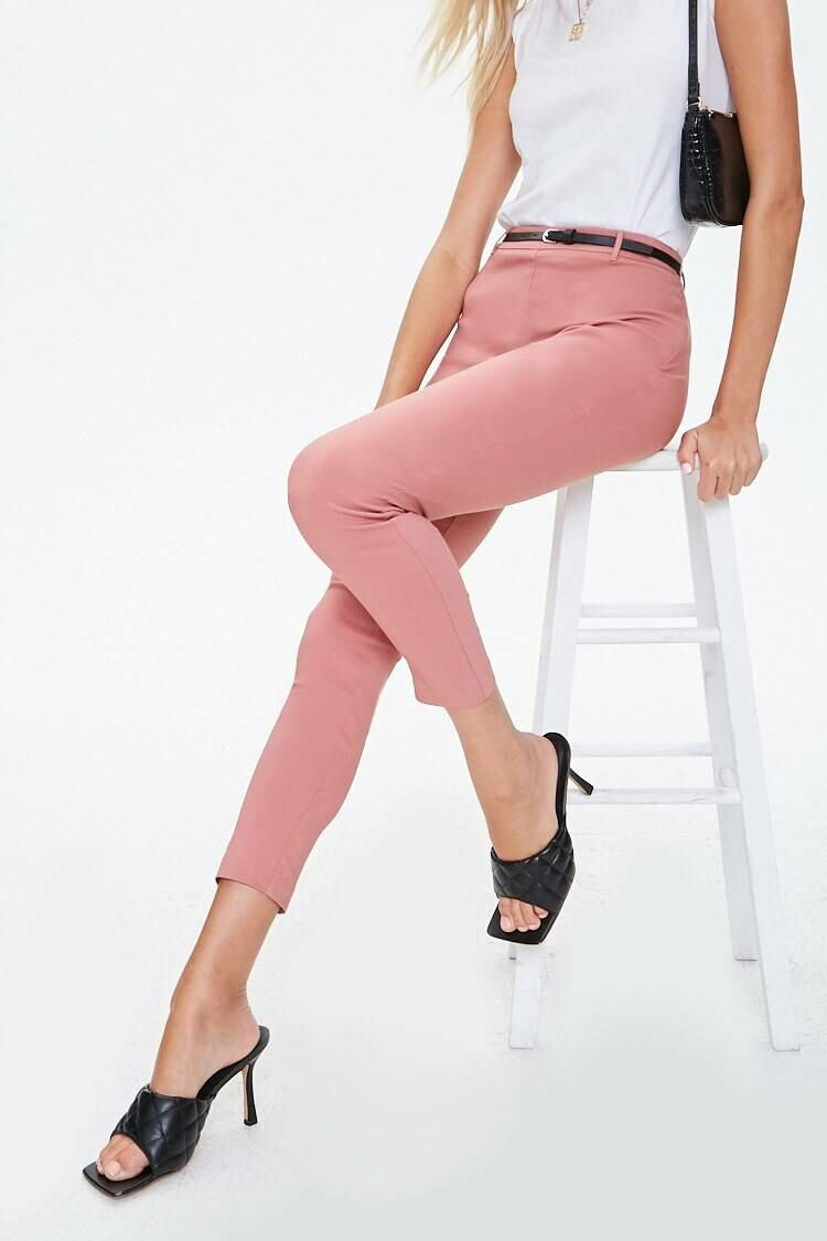 Forever 21 Pink Belted High-Rise Harper Pants WOMEN Women FASHION Womens TROUSERS
