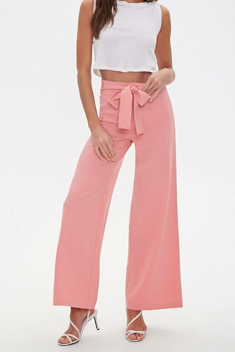 Forever 21 Pink Belted Wide-Leg Pants WOMEN Women FASHION Womens TROUSERS
