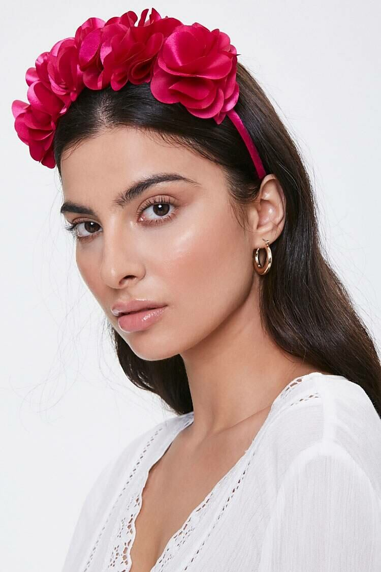 Forever 21 Pink Floral Structured Headband WOMEN Women ACCESSORIES Womens HATS