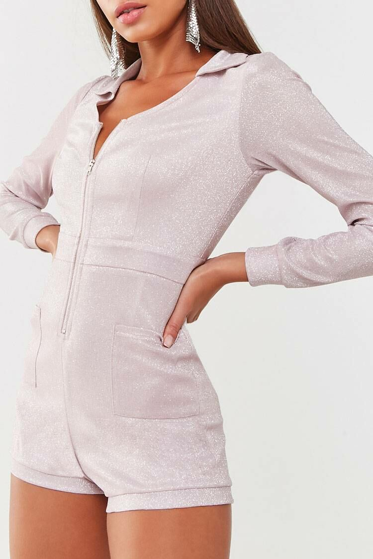 Forever 21 Pink Glitter Knit Zip-Front Romper WOMEN Women FASHION Womens JUMPSUITS