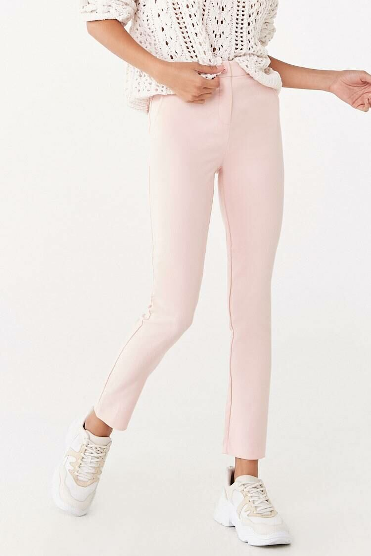 Forever 21 Pink High-Rise Ankle Pants WOMEN Women FASHION Womens TROUSERS