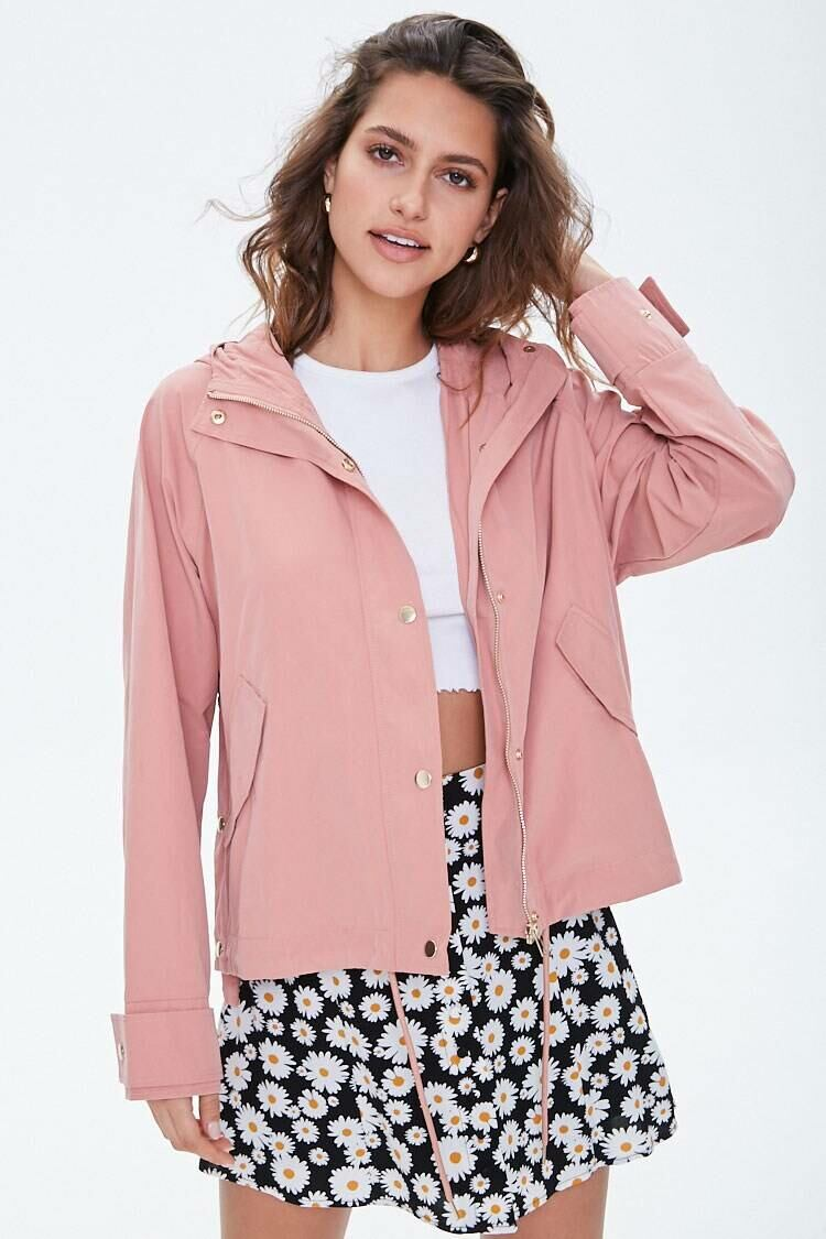 Forever 21 Pink Hooded Snap-Button Jacket WOMEN Women FASHION Womens JACKETS